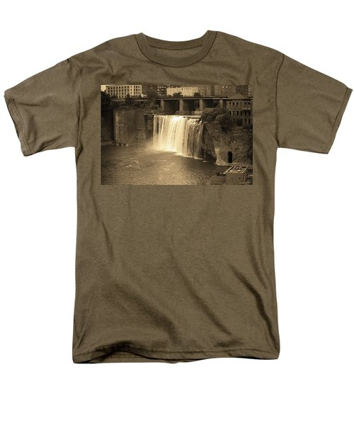 Men's T-Shirt  (Regular Fit) featuring the photograph Rochester, New York - High Falls Sepia by Frank Romeo