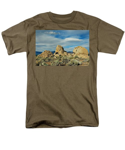 Men's T-Shirt  (Regular Fit) featuring the photograph Rock Formations At Pyramid Lake by Benanne Stiens