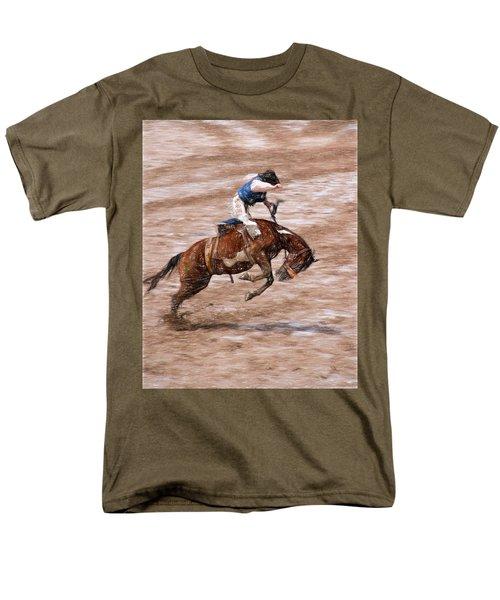 Men's T-Shirt  (Regular Fit) featuring the photograph Rodeo Bronc Rider by John Freidenberg