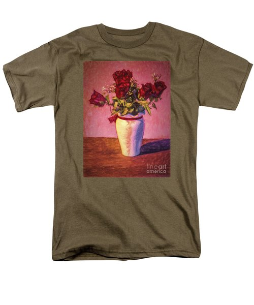 Men's T-Shirt  (Regular Fit) featuring the photograph Roses In Vase  ... by Chuck Caramella