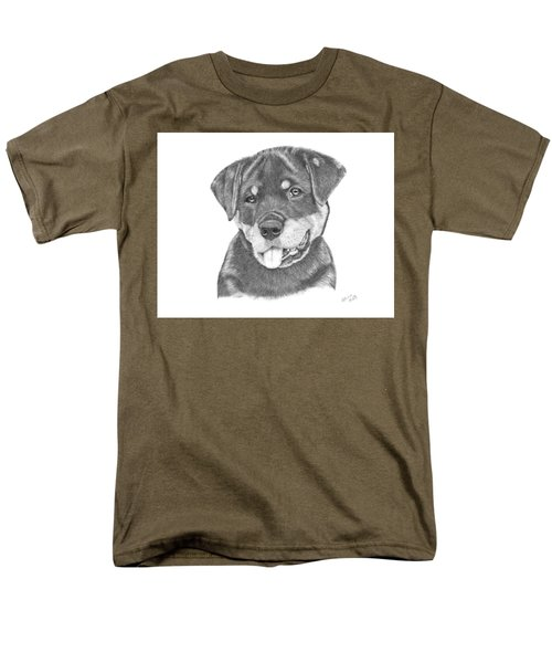 Men's T-Shirt  (Regular Fit) featuring the drawing Rottweiler Puppy- Chloe by Patricia Hiltz