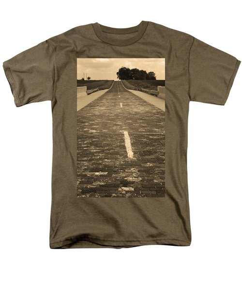 Men's T-Shirt  (Regular Fit) featuring the photograph Route 66 - Brick Highway 2 Sepia by Frank Romeo