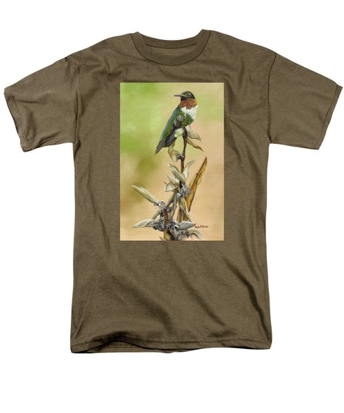 Men's T-Shirt  (Regular Fit) featuring the painting Ruby Throated Hummingbird Study by Phyllis Beiser