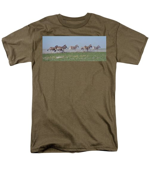 Running Zebras Men's T-Shirt  (Regular Fit) by Bruce W Krucke