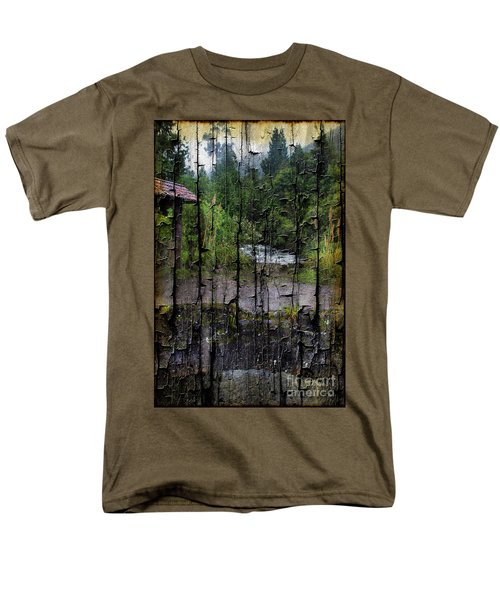 Rushing Cascade In The Andes - On Bark Men's T-Shirt  (Regular Fit) by Al Bourassa