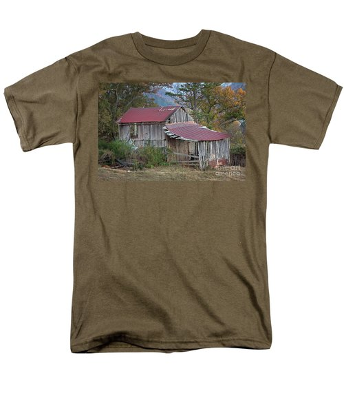 Men's T-Shirt  (Regular Fit) featuring the photograph Rustic Weathered Hillside Barn by John Stephens