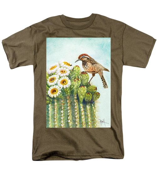 Men's T-Shirt  (Regular Fit) featuring the painting Saguaro And Cactus Wren by Marilyn Smith