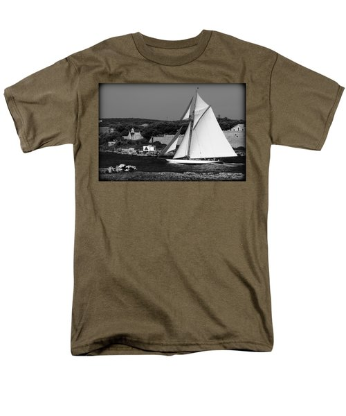 sailboat - a one mast classical vessel sailing in one of the most beautiful harbours Port Mahon Men's T-Shirt  (Regular Fit) by Pedro Cardona