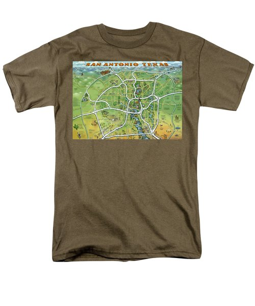 San Antonio Texas Cartoon Map Men's T-Shirt  (Regular Fit) by Kevin Middleton
