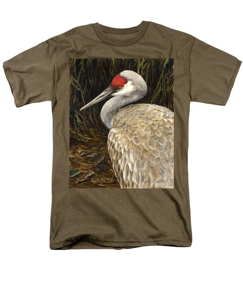 Men's T-Shirt  (Regular Fit) featuring the painting Sandhill Crane - Realistic Bird Wildlife Art by Karen Whitworth