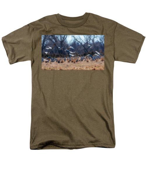Men's T-Shirt  (Regular Fit) featuring the photograph Sandhill Crane Taking Flight by Edward Peterson