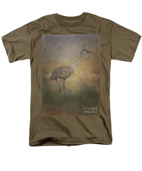 Sandhill Crane Watercolor Men's T-Shirt  (Regular Fit) by Janice Rae Pariza