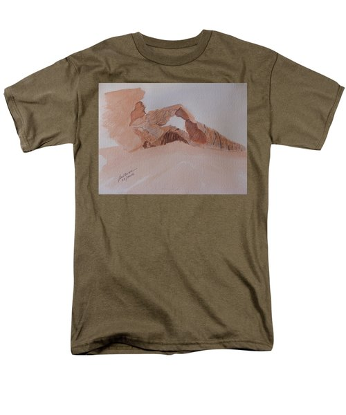 Men's T-Shirt  (Regular Fit) featuring the painting Sandstone Arch - Valley Of Fire  by Joel Deutsch