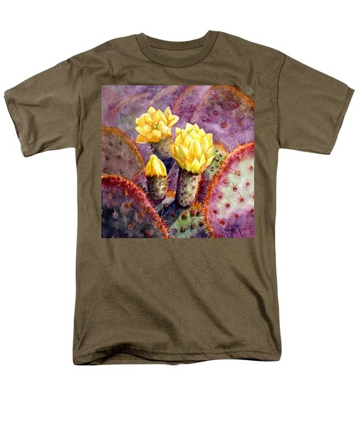 Men's T-Shirt  (Regular Fit) featuring the painting Santa Rita Prickly Pear Cactus by Marilyn Smith