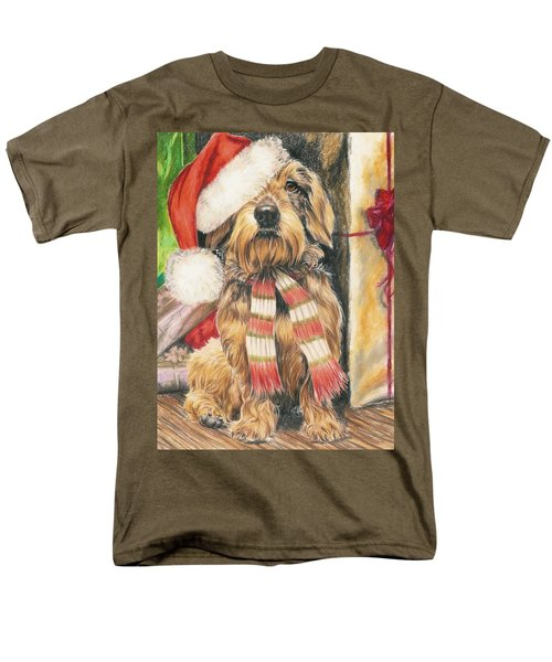 Men's T-Shirt  (Regular Fit) featuring the drawing Santas Little Yelper by Barbara Keith