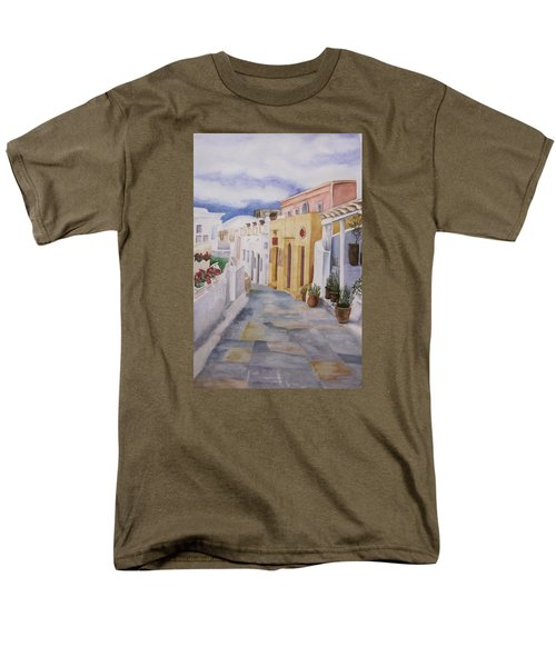 Santorini Cloudy Day Men's T-Shirt  (Regular Fit) by Teresa Beyer