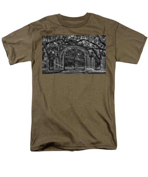 Men's T-Shirt  (Regular Fit) featuring the photograph Savannah's Wormsloe Plantation Gate Bw Live Oak Alley Art by Reid Callaway