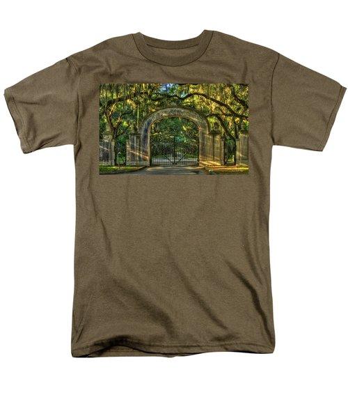 Men's T-Shirt  (Regular Fit) featuring the photograph Savannah's Wormsloe Plantation Gate Live Oak Alley Art by Reid Callaway