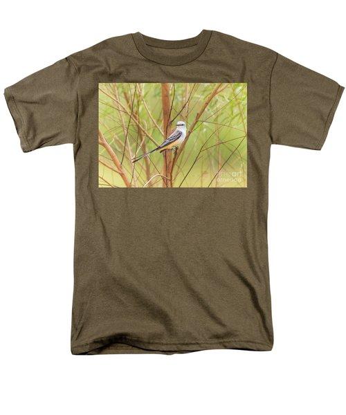 Men's T-Shirt  (Regular Fit) featuring the photograph Scissortail In Scrub by Robert Frederick