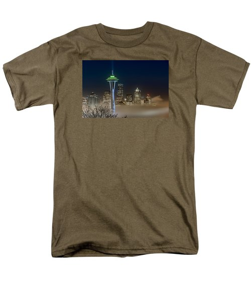 Seattle Foggy Night Lights Men's T-Shirt  (Regular Fit) by Ken Stanback