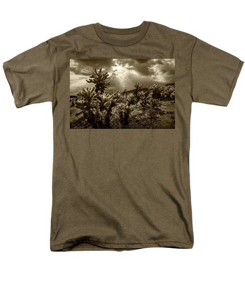 Men's T-Shirt  (Regular Fit) featuring the photograph Sepia Tone Of Cholla Cactus Garden Bathed In Sunlight by Randall Nyhof