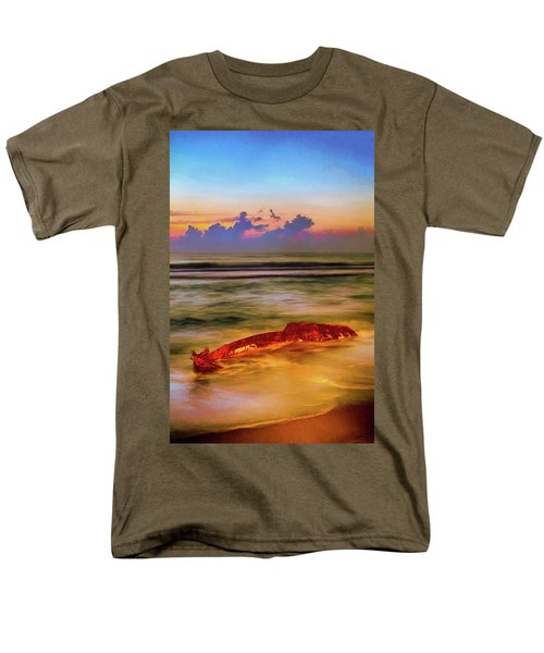 Men's T-Shirt  (Regular Fit) featuring the painting Shipwreck On The Outer Banks The End Ap by Dan Carmichael