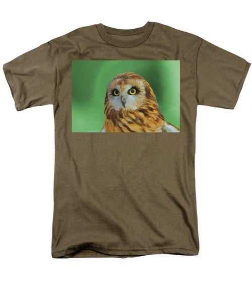 Short Eared Owl On Green Men's T-Shirt  (Regular Fit) by Dan Sproul