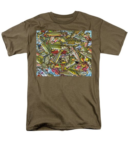 Men's T-Shirt  (Regular Fit) featuring the painting Side Fish Collage by Jon Q Wright JQ Licensing