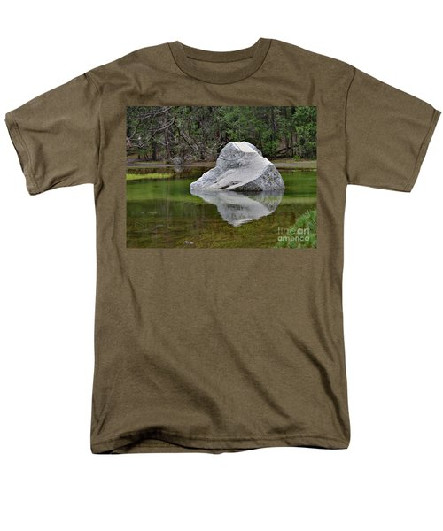 Side View Of A Rock At Mirror Lake Men's T-Shirt  (Regular Fit) by Debby Pueschel