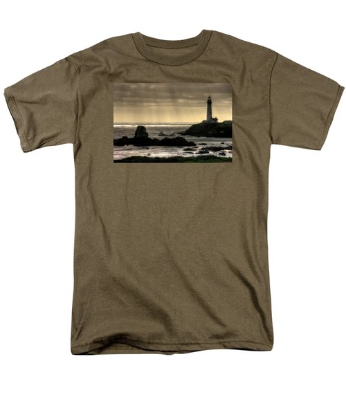 Silhouette Sentinel - Pigeon Point Lighthouse - Central California Coast Spring Men's T-Shirt  (Regular Fit) by Michael Mazaika