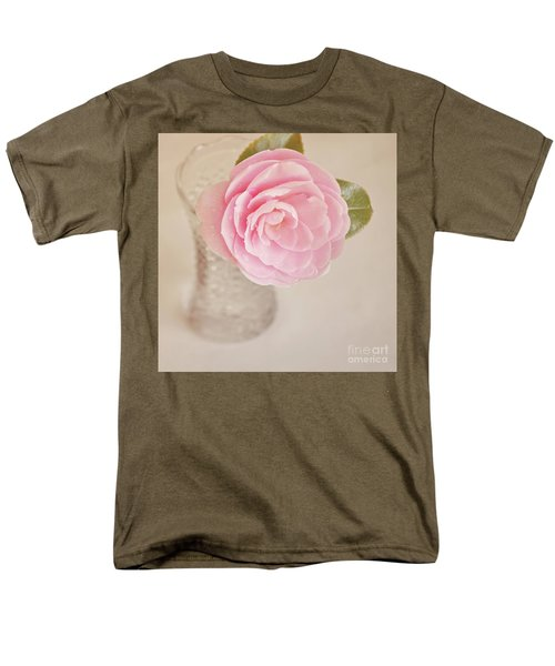Men's T-Shirt  (Regular Fit) featuring the photograph Single Pink Camelia Flower In Clear Vase by Lyn Randle