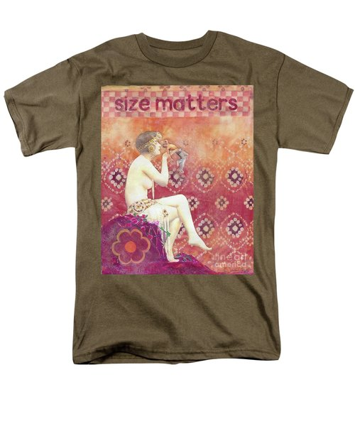 Men's T-Shirt  (Regular Fit) featuring the mixed media Size Matters by Desiree Paquette