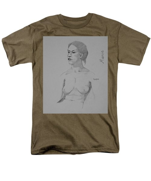 Men's T-Shirt  (Regular Fit) featuring the drawing Sketch For Marie Seated by Ray Agius