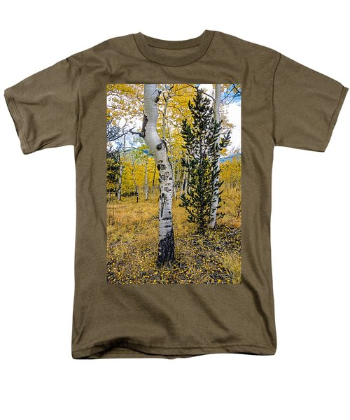 Slightly Crooked Aspen Tree In Fall Colors, Colorado Men's T-Shirt  (Regular Fit) by John Brink