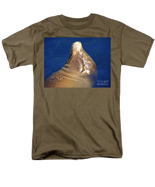Men's T-Shirt  (Regular Fit) featuring the photograph Smiling Seal In Blue Water by Maja Sokolowska