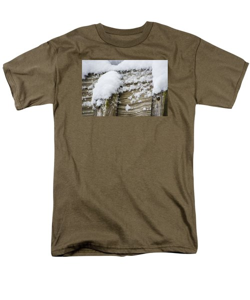 Men's T-Shirt  (Regular Fit) featuring the photograph Snow Fluff And Woodgrain by Deborah Smolinske
