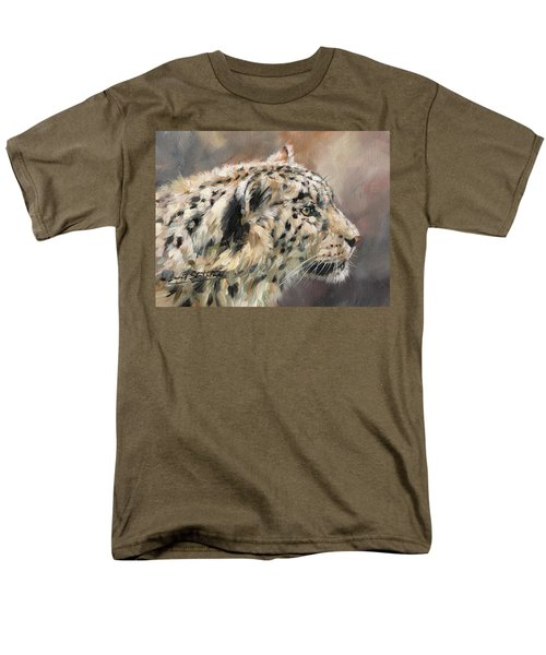 Men's T-Shirt  (Regular Fit) featuring the painting Snow Leopard Study by David Stribbling