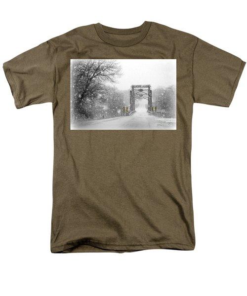 Snowy Day And One Lane Bridge Men's T-Shirt  (Regular Fit) by Kathy M Krause