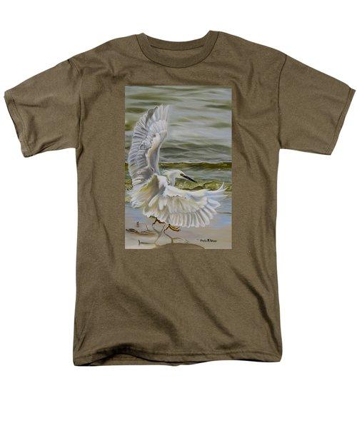 Snowy Egret Landing On The Shore Men's T-Shirt  (Regular Fit) by Phyllis Beiser