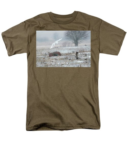 Snowy Owl In Flight 3 Men's T-Shirt  (Regular Fit) by Gary Hall