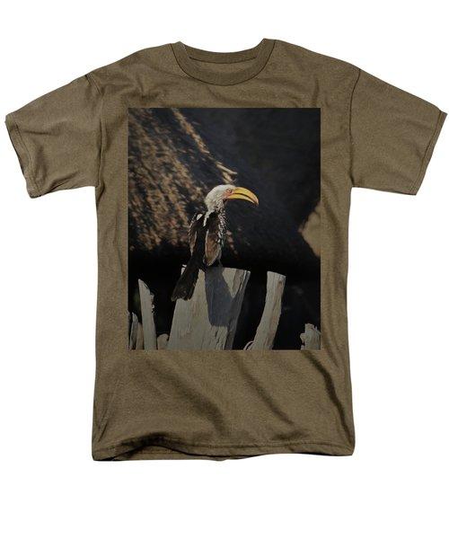 Men's T-Shirt  (Regular Fit) featuring the digital art Southern Yellow Billed Hornbill by Ernie Echols