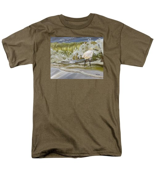 Men's T-Shirt  (Regular Fit) featuring the painting Sparking Snowy Egret by Phyllis Beiser