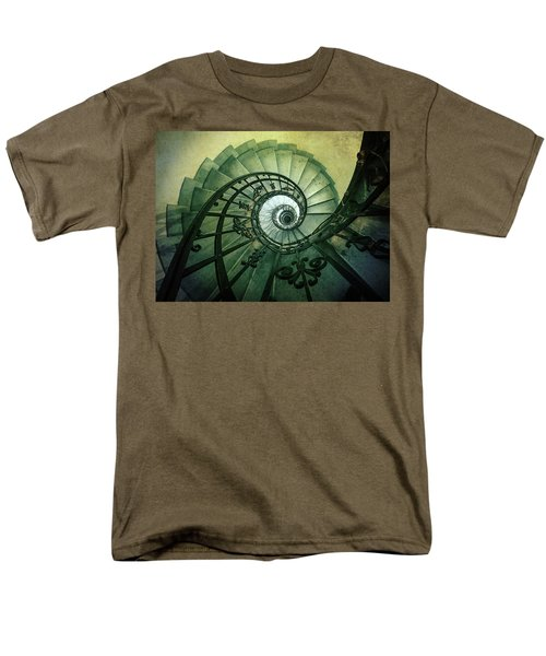 Men's T-Shirt  (Regular Fit) featuring the photograph Spiral Stairs In Green Tones by Jaroslaw Blaminsky