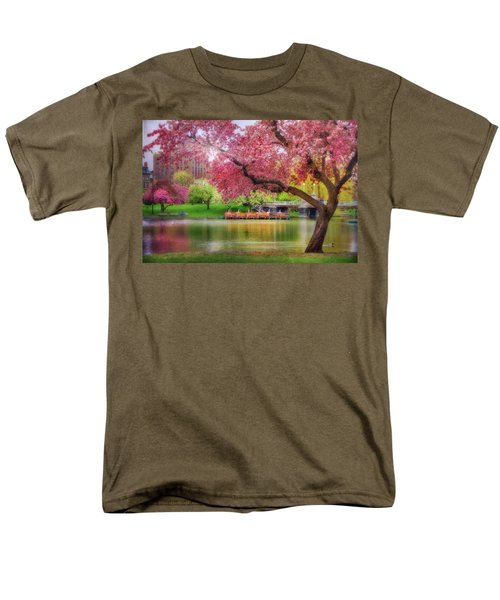 Men's T-Shirt  (Regular Fit) featuring the photograph Spring Afternoon In The Boston Public Garden - Boston Swan Boats by Joann Vitali