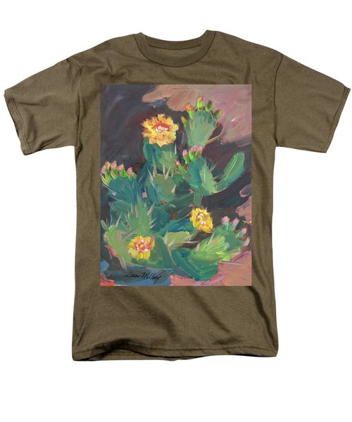 Men's T-Shirt  (Regular Fit) featuring the painting Spring And Prickly Burst Cactus by Diane McClary