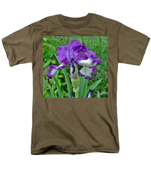 Spring Purple Iris Men's T-Shirt  (Regular Fit) by Marsha Heiken