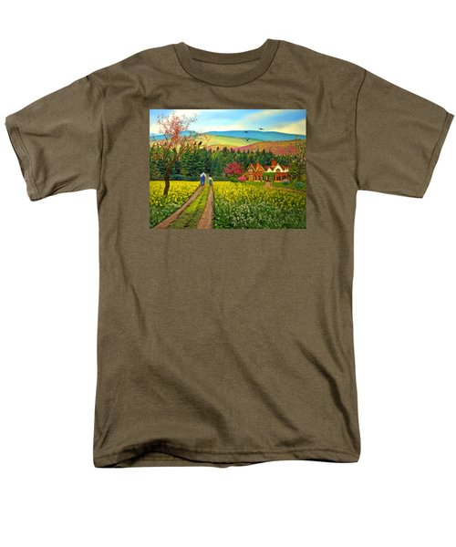 Men's T-Shirt  (Regular Fit) featuring the digital art Spring Time In The Mountains by Nina Bradica