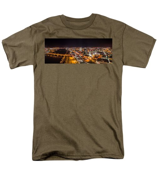 Springfield Massachusetts Night Long Exposure Panorama Men's T-Shirt  (Regular Fit) by Petr Hejl