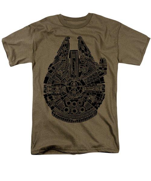 Star Wars Art - Millennium Falcon - Black Men's T-Shirt  (Regular Fit) by Studio Grafiikka