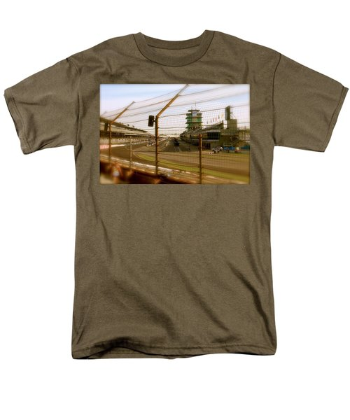Men's T-Shirt  (Regular Fit) featuring the photograph Start Finish Indianapolis Motor Speedway by Iconic Images Art Gallery David Pucciarelli